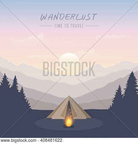 Wanderlust Camping Adventure In The Wilderness Tent In The Forest At Mountain Landscape Vector Illus