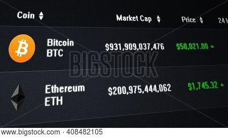 Computer Screen Illustration Showing Bitcoin Surpassing The 50, 000 Dollar Mark.