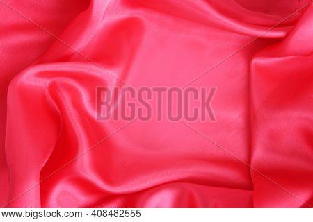 Red Satin Material With Beautiful Pleats. Silk, Satin - Natural Fabric. Texture,