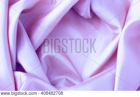 Lilac Satin Material With Beautiful Pleats. Silk, Satin - Natural Fabric. Texture