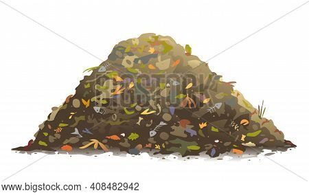 One Big Brown Heap Of Organic Food For Compost In Side View Isolated, Composting Process Of Food Was
