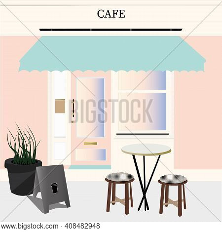 Street Cafe Facade. Cafe Icon. Cafe Flat Design.colorful Cafe Banner In Flat Cartoon Style. Vector I