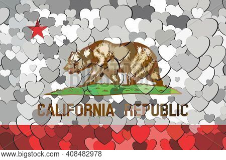 California Flag Made Of Hearts Background - Illustration,  Abstract Mosaic Flag Of California
