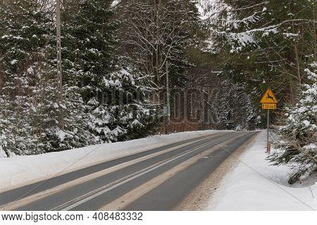 Asphalt Road In Winter, In The Jizera Mountains.\njizera Mountains In Poland. Asphalt Road Covered W
