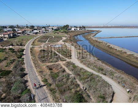 Aerial View Of Otay River And San Diego Bay National Refuge From Imperial Beach, San Diego, Californ