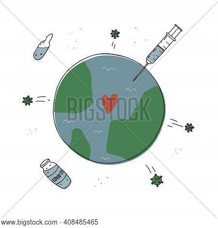 World Vaccination Against Coronavirus. Vaccination Against Covid-19. Corona Vaccine Bottle And Syrin