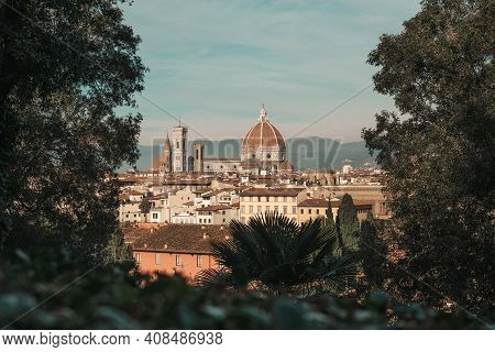 View Of The Main Cathedral Of Florence - Santa Maria Del Fiore, View Of The Capital Of Tuscany From