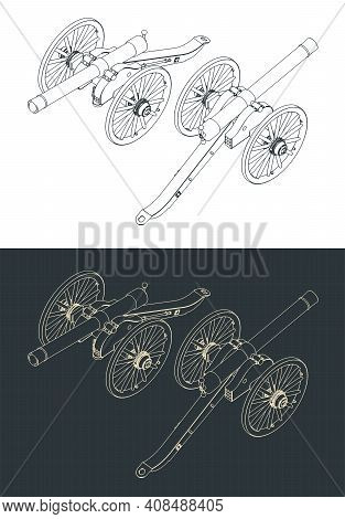 Vintage Artillery Cannon Isometric Drawings