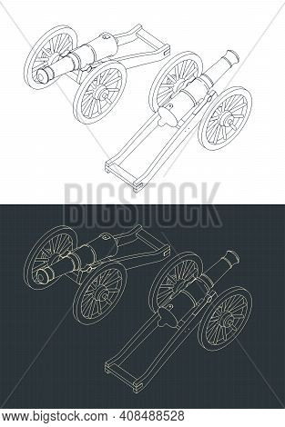 Vintage Cannon Isometric Drawings