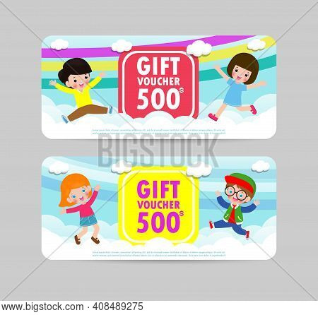 Gift Voucher Template With Colorful Pattern,cute Gift Voucher Certificate Coupon Design Template,kid