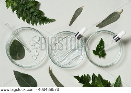 Cosmetic Pipette And Drop Of Cosmetic Product On Pastel Green Background With Eucalyptus Leaves. Nat
