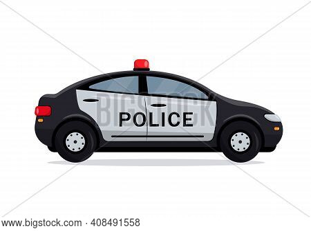 Black Police Car Side View. Cop, Police Officer Auto, Policeman Patrol Automobile. City Transport Ic