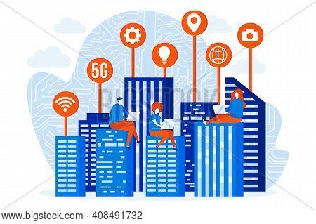 Futuristic Megapolis Design Concept With People Characters. Smart City Construction Scene. Futuristi