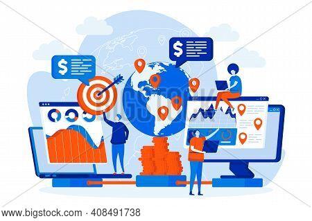 Global Business Web Design With People Characters. Strategic Planning Teamwork Scene. International