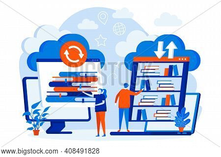 Cloud Library Web Design Concept With People Characters. People Choose Online Books Scene. E-library