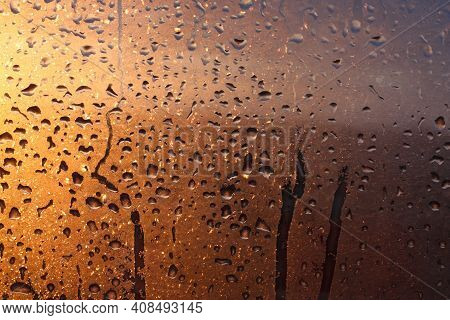 Natural Background Of Condensation Of Water On A Window Glass With High Air Humidity, Large Drops Dr