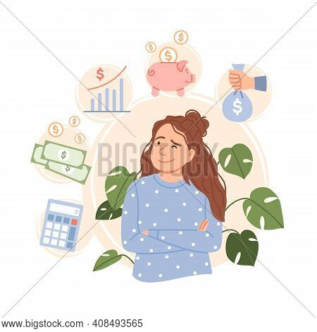Salary Increase Concept. Finance Control, Income Increment Wages Rise. Flat Young Business Woman Cha