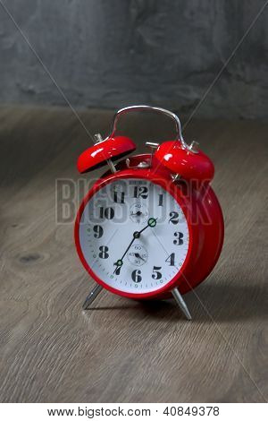 Old red alarm clock