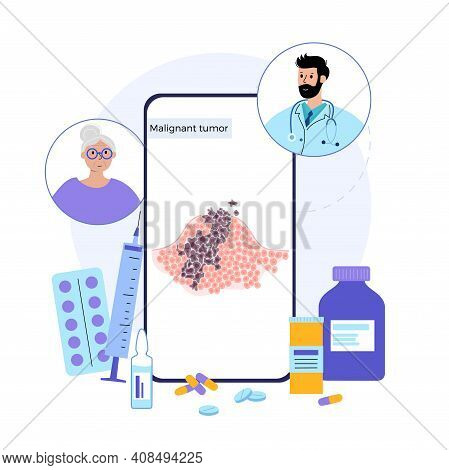 Vector Isolated Illustration Of Malignant Tumor In Healthy Tissue. Doctor Consults Old Woman In Onli