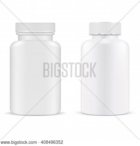 Pill Bottle. Plastic Supplement Container Vitamin Capsule Jar Isolated, 3d Mockup. Medical Tablet Pr