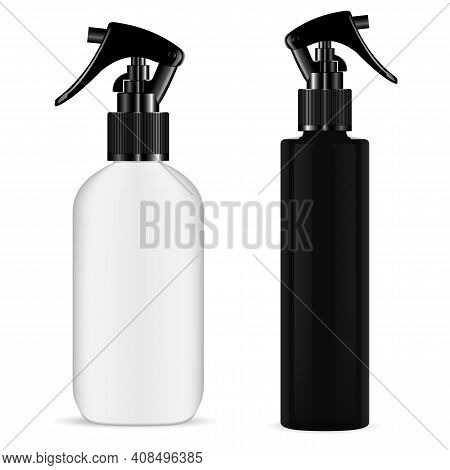 Spray Bottle Trigger. Cosmetic Pistol Sprayer Mockup. Kitchen Cleaner Flask. Realistic Hair Sprayer,
