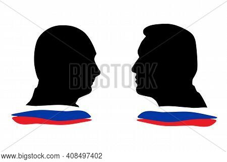 Russia, St.petersburg, 16 February 2021 Portrait Of President Putin And Politician Navalny With The