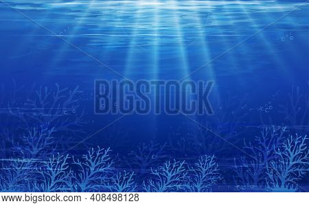 Underwater Sea With Wave In Deep Blue In Island,bottom Of Ocean With Sun Ray Shining Through Underwa