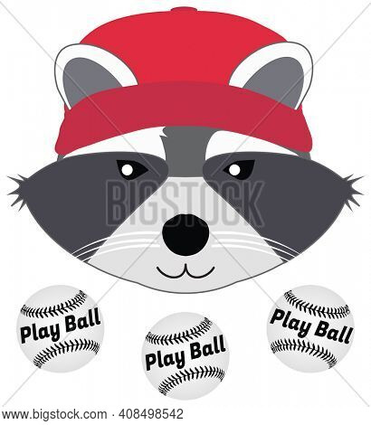 Boy Raccoon in Baseball Cap with Baseballs Illustration Isolated on White with Clipping Path