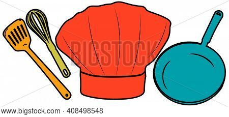 Chef Hat and Tools Illustration Isolated on Whtie with Clipping Path