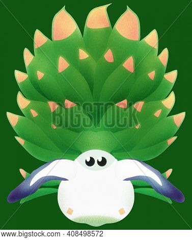 Leaf Sheep Sea Sheep Illustration Isolated on Green with Clipping Path