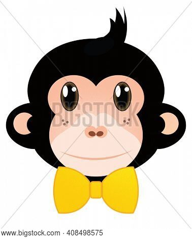 Boy Monkey with Yellow Bowtie Illustration isolated on white with clipping path