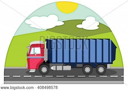 Blue and Red Garbage Truck Driving on a Country Road with Clipping Path for Easy Transparent Background.
