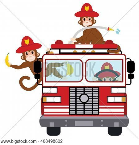 Funny Fire Fighter Monkeys in Fire Truck with Bananas Illustration Isolated on White with Clipping Path for Easy