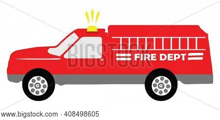 Fire Rescue Truck with Lights Isolated on White Illustration with Clipping Path