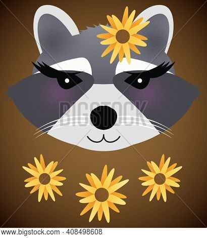 Blushing Raccoon Girl with Sunflowers Isolated on Brown with Clipping Path