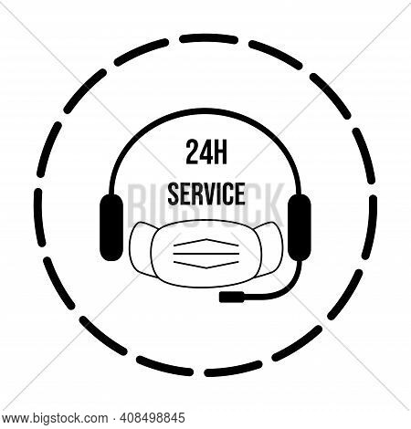 24h Medicine Help Service Icon. Headset Symbol With Face Mask. Vector Illustration