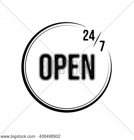 24h 7 Days A Week Open Icon . Vector Illustration