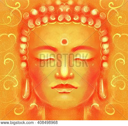 Illustration Of A Portrait Of A Buddha. A Picture Of Enlightenment, The Religiosity Of Buddhism, In