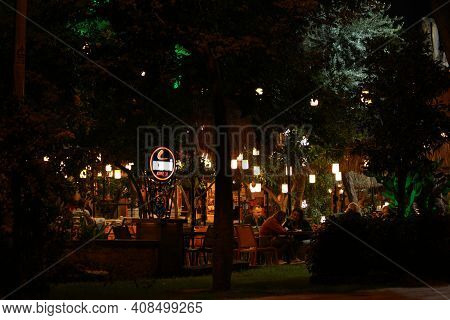 22.10.2019 - Antalya, Turkey. Outdoor Dining Restaurant At Night. View Of Outdoor Dining Area At Nig