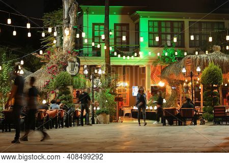 22.10.2019 - Antalya, Turkey. Beautiful View Of Outdoor Restaurant With Night Illumination. People E