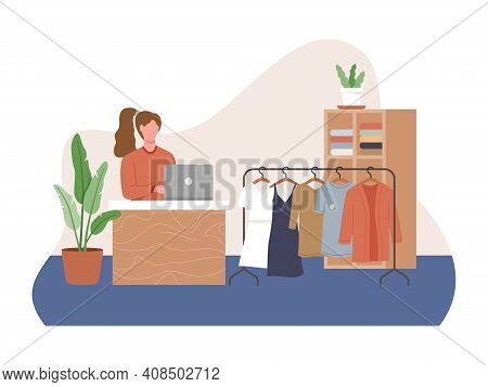 Clothing Store Interior, Female Clothes Shopping Store Interior. Small Business Concept And Self-emp