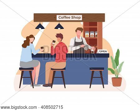 Small Business And Self-employment Concept, Barista Makes Coffee. Drinking Coffee And Talking. Illus