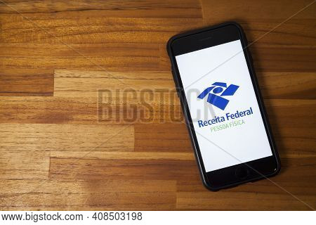 Sao Paulo Brazil. Feb 06, 2021: Federal Revenue Of Brazil. Application Used To Track Processes Along