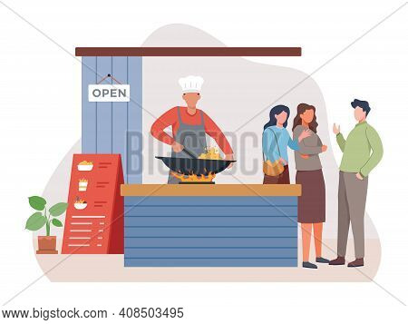 Street Food Vendor Frying Fried Rice, Asian Food, Chinese Food, Small Business Concept With A Man Co
