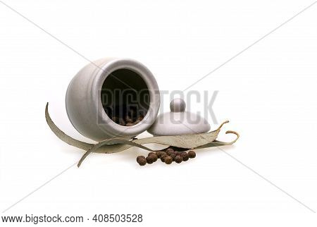 White Porcelain Spice Jar With Allspice And Eucalyptus Leaves Isolated On White Background. Healthy