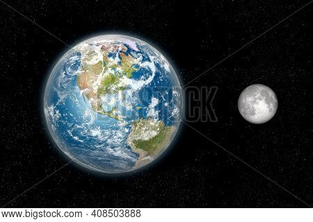 Earth And The Moon 3d Rendering From Space In Daylight On A Star Field Backdrop, Showing The America