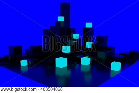 3d Rendering Of A Black Flat Square Floor With Triangle Extrusions On The Surface, And Blue Glowing