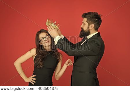 Reward And Recognition. Bearded Man Crown Sexy Woman. Beauty Queen Got Reward. Couple In Love In For