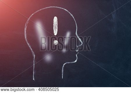 Human Head With Exclamation Mark Symbol. Brain, Idea, Inspiration Mind - Creative Thinking Concept.
