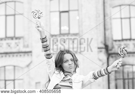 Little Girl Enjoy Summer Vacation Eat Sweets, Rebel Teen Concept.